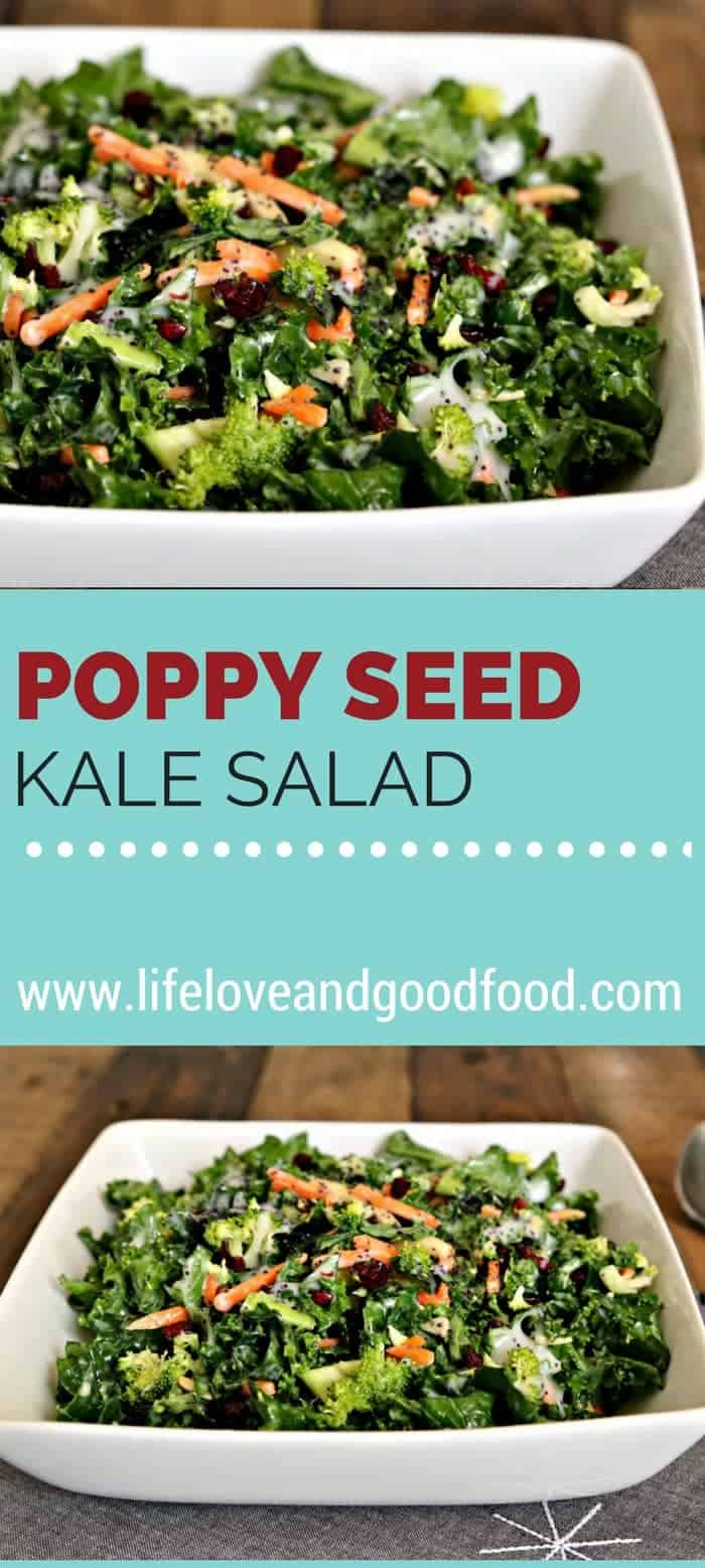 "Sweet and crunchy, Poppy Seed Kale Salad is a delicious ""almost homemade"" side salad. Once you try it, you'll be hooked! #kale #salad #poppyseeddressing"