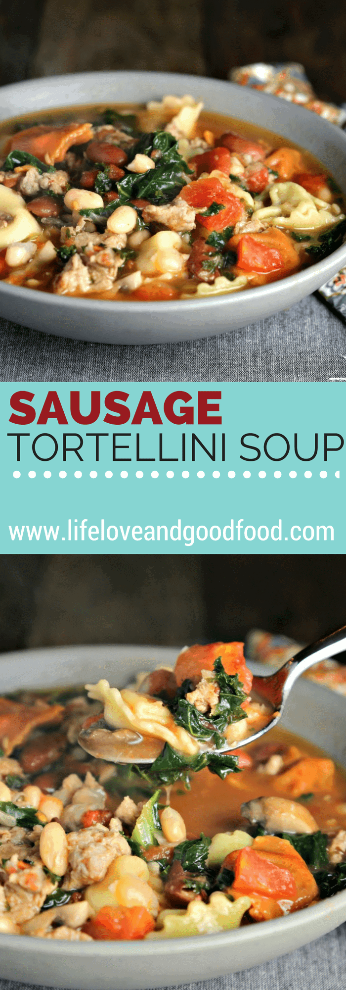 Rustic Sausage Tortellini Soup—with either spicy or mild Italian sausage—is a warm and filling vegetable soup for a chilly day.