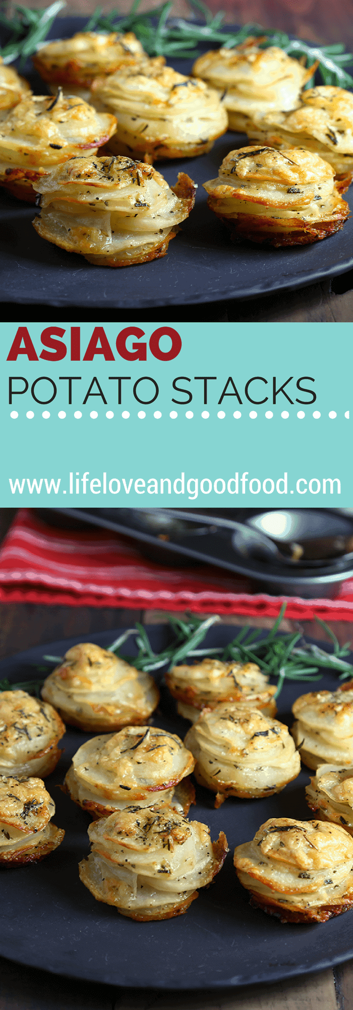 These fancy little Asiago Potato Stacks, seasoned with fresh rosemary and sea salt, are cheesy, crispy, and perfectly elegant! #appetizer #potato #asiago