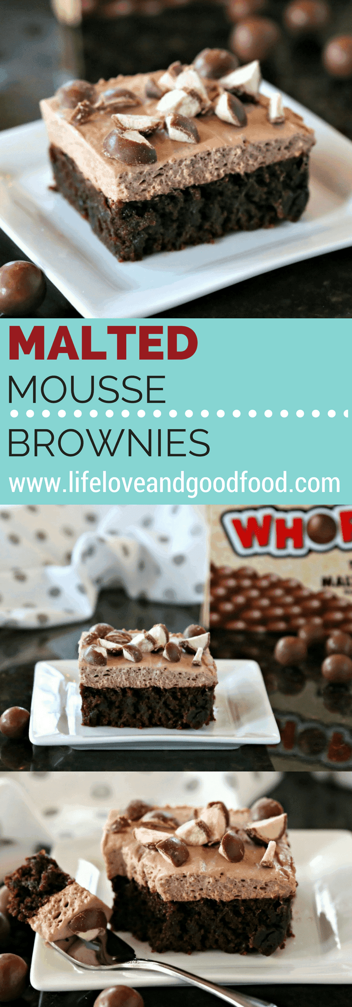 Malted chocolate isn't just for milkshakes! Malted Mousse Brownies have chocolate malt powder both in the brownie batter and in the creamy topping. #maltpowder #brownies #mousse
