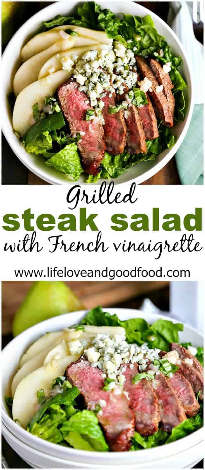 A lite French Vinaigrette works perfectly with the tender grilled steak, juicy pears, and blue cheese on this entrée salad.