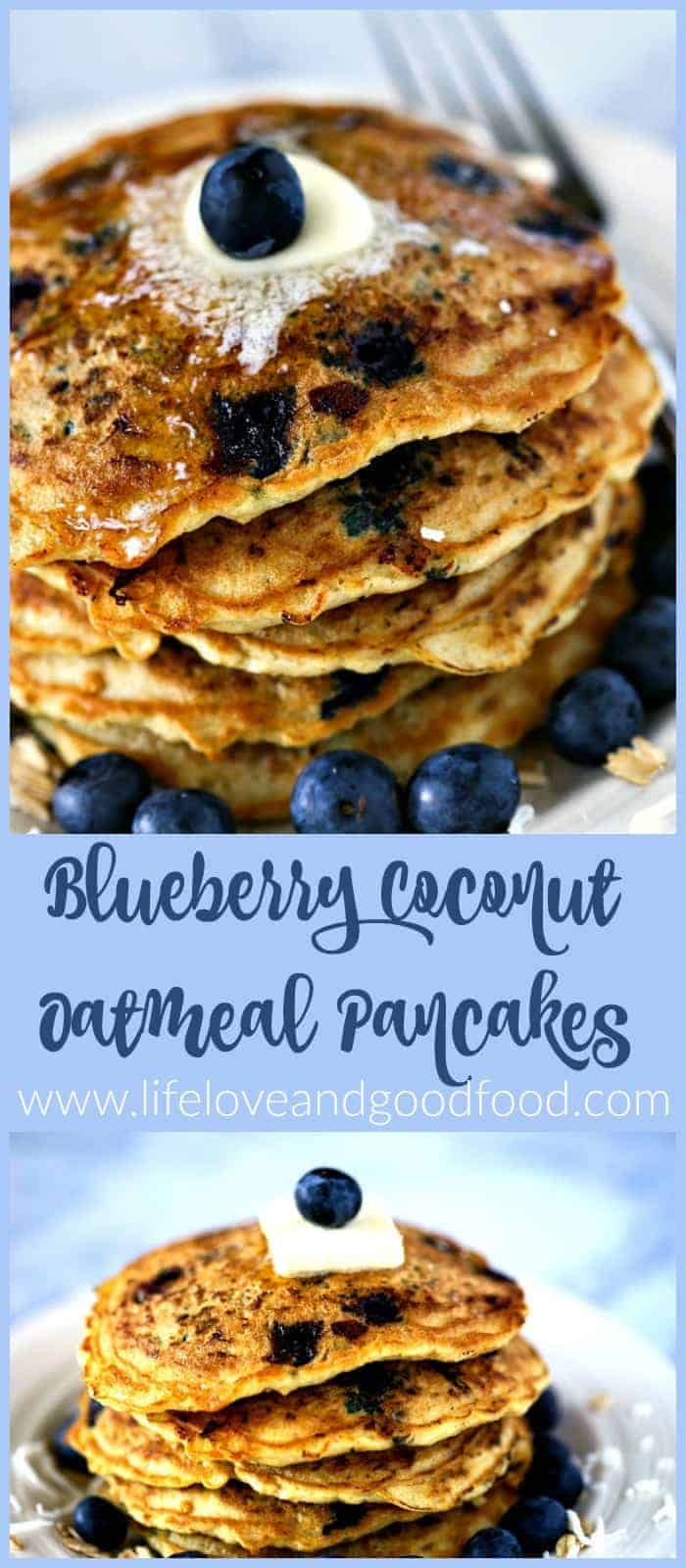 Make a batch of Blueberry Coconut Oatmeal Pancakes and serve them up with more fresh blueberries and maple syrup for a fun and festive breakfast or brunch.