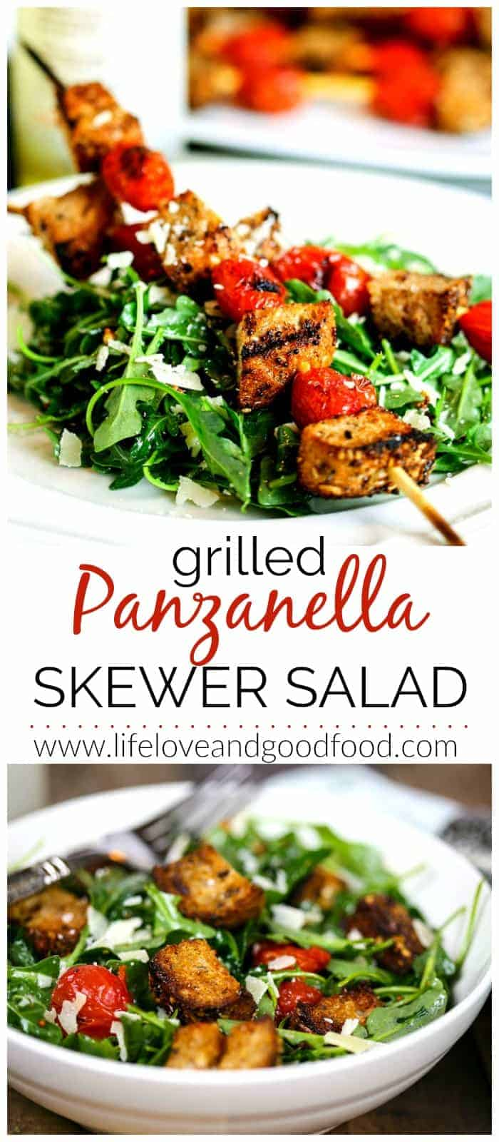In this Grilled Panzanella Skewer Salad, nutty arugula is topped with a skewer of grilled tomatoes and multigrain croutons and dressed with a de-lite-ful mustard vinaigrette.