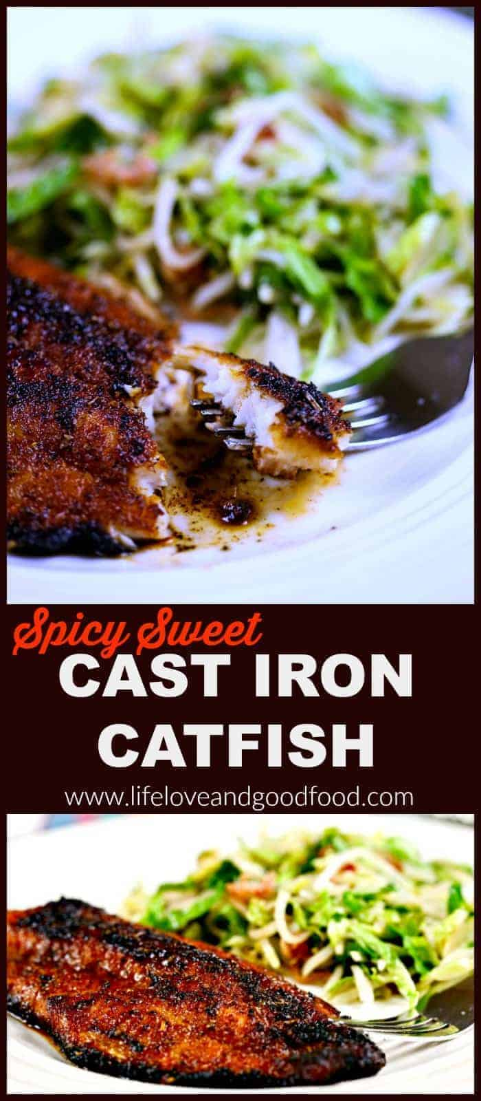 Spicy Sweet Cast Iron Catfish served with Mann's Bacon Maple Brussels Nourish Bowl™ #Nourish2Flourish| Life, Love, and Good Food