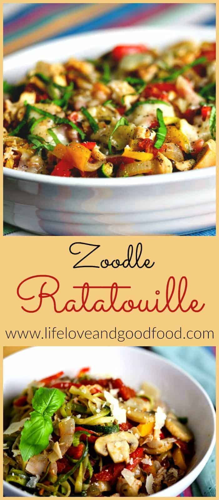 Zoodle Ratatouille is a composition of seasonal vegetables—zucchini, onions, sweet bell peppers, and tomatoes—cooked with olive oil and garlic.