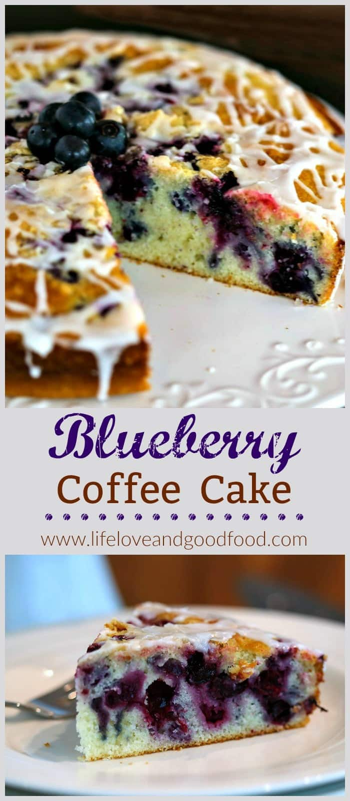 Bursting with fresh blueberries and a dash of lemon flavoring, this lightened-up coffee cake makes a beautiful and delicious brunch dessert.  #coffeecake #blueberry