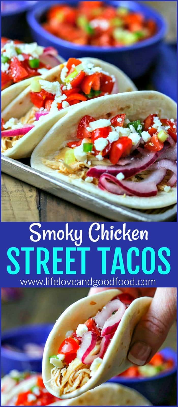 Smoky Chicken Street Tacos with Pickled Red Onion and Fresh Salsa — made in your slow cooker! #slowcooker #tacos #chicken