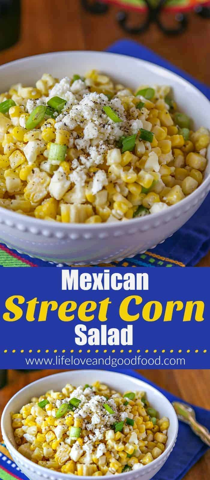 Serve this easy Mexican Street Corn Salad just once and it will quickly become one of your favorite go-to sides for taco nights at home! #Mexican #taconight #streetcorn #recipe