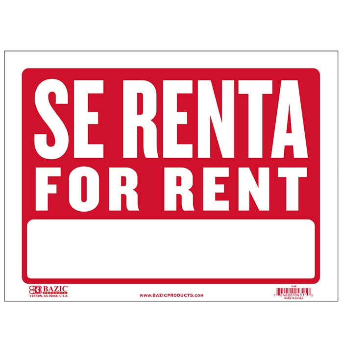 Cheap spanish for rent signs