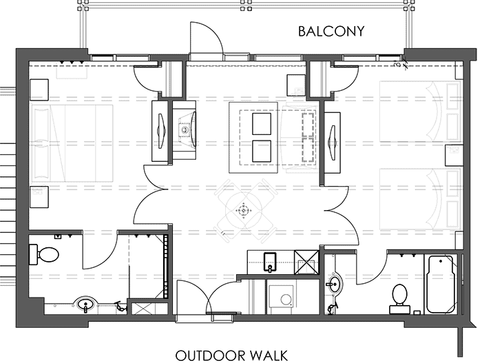 Floor Plan Rooftop Two Bedroom Suite
