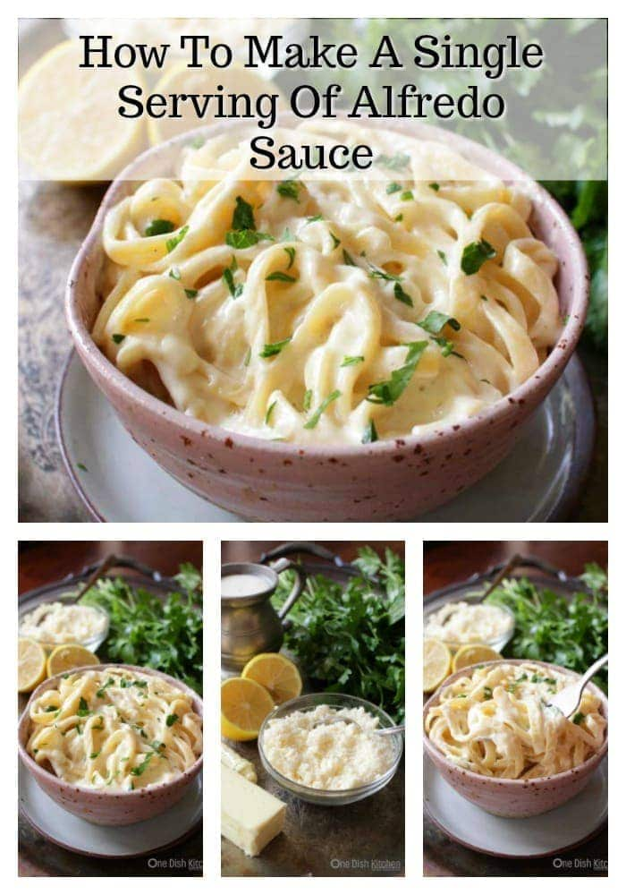 Easy to make single serving Alfredo Sauce Recipe For One - This rich and creamy sauce is made with cream, butter, lemon juice, Parmesan cheese and a pinch of nutmeg. Delicious over pasta or with chicken.   One Dish Kitchen   #singleserving #pastarecipes #saucerecipes #cookingforone #recipesforone
