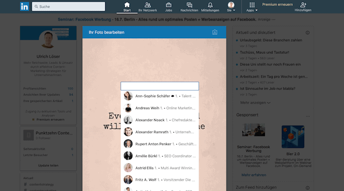 LinkedIn Updates Fotos markieren