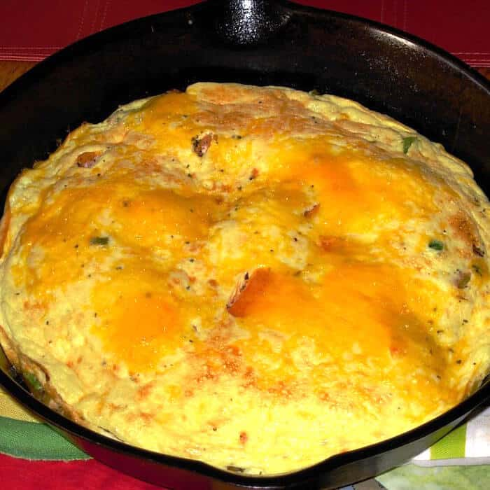 Delicious! Beautiful! South Beach Cheesy Frittata in a cast iron skillet.