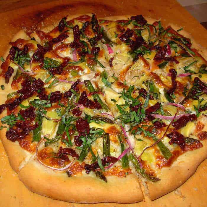 California Pizza with Asparagus, Artichokes & Sun Dried Tomatoes.