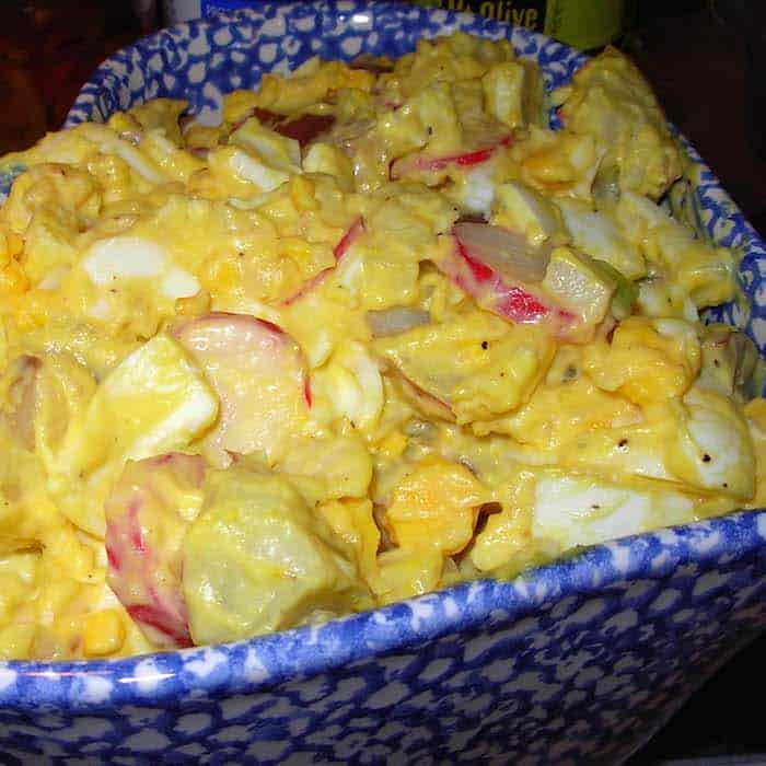 Egg-y Potato Salad. Radishes add a little zing to it.
