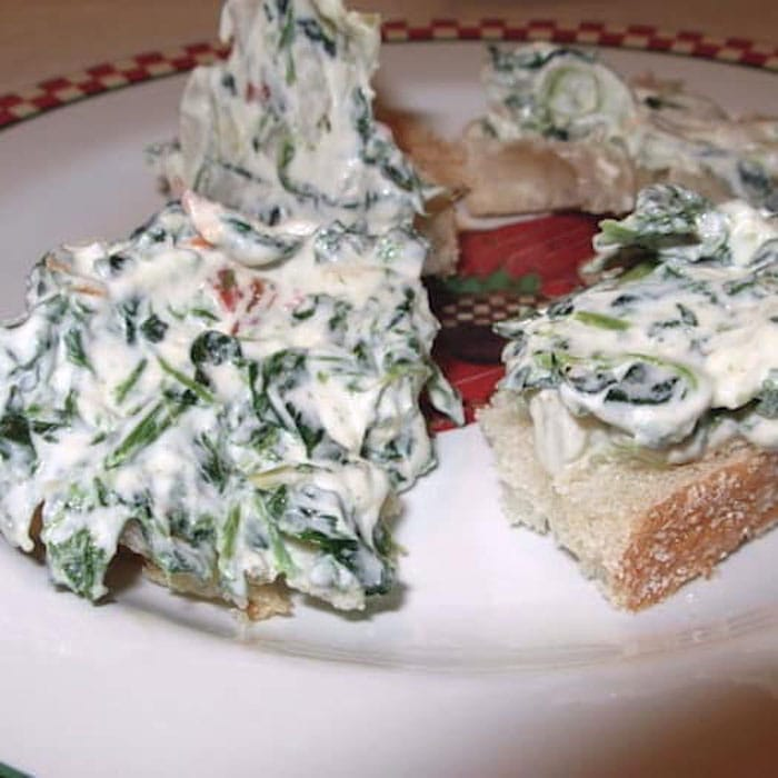 What a yummy way to eat your vegetables. Spread some Knorr's Spinach Dip on bread.