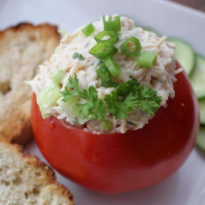 Stuffed Tomatoes are delicious for lunch or as an appetizer.