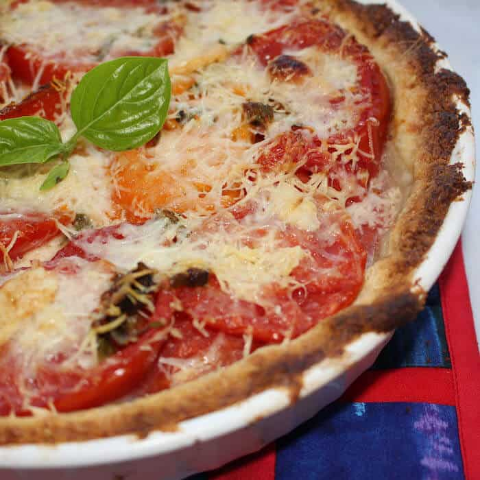 Gluten Free Tomato Basil Pie, delicious for breakfast, lunch or supper.