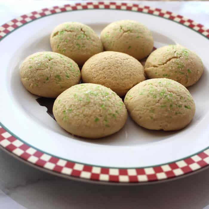 Gluten Free Danish Sugar Cookies, using 4 cups of flour and baking for 9 minutes. Too dry! Use 2 1/2 cups instead.