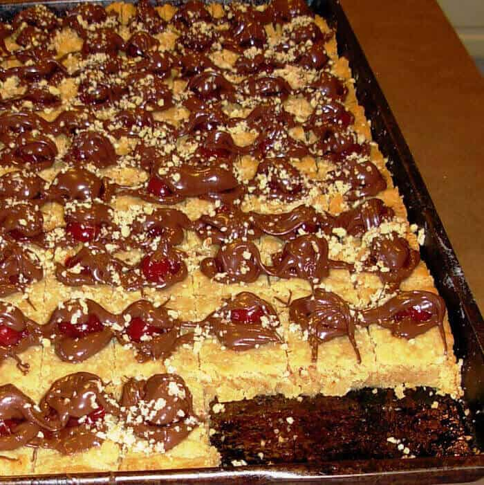 A pan of Chocolate Cherry Squares before plating.