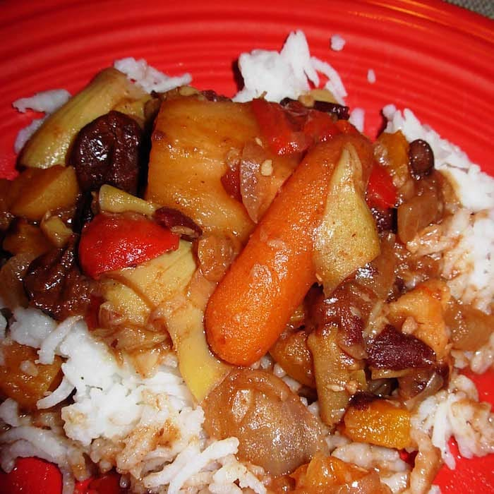 Spicy Vegetarian Stew tastes terrific over rice.