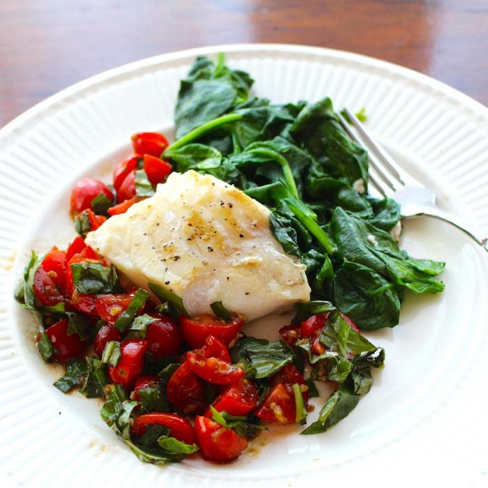 Isn't this Sautéed Cod Fish with Tomato Basil Chutney and Sautéed Spinach pretty?