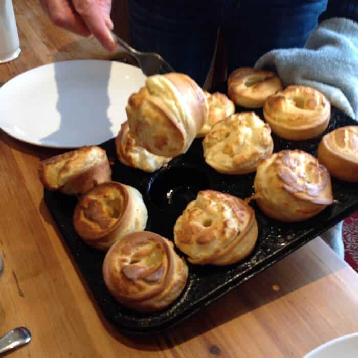 Traditional British Yorkshire Pudding is made with meat drippings. Photo by Kate Dight.