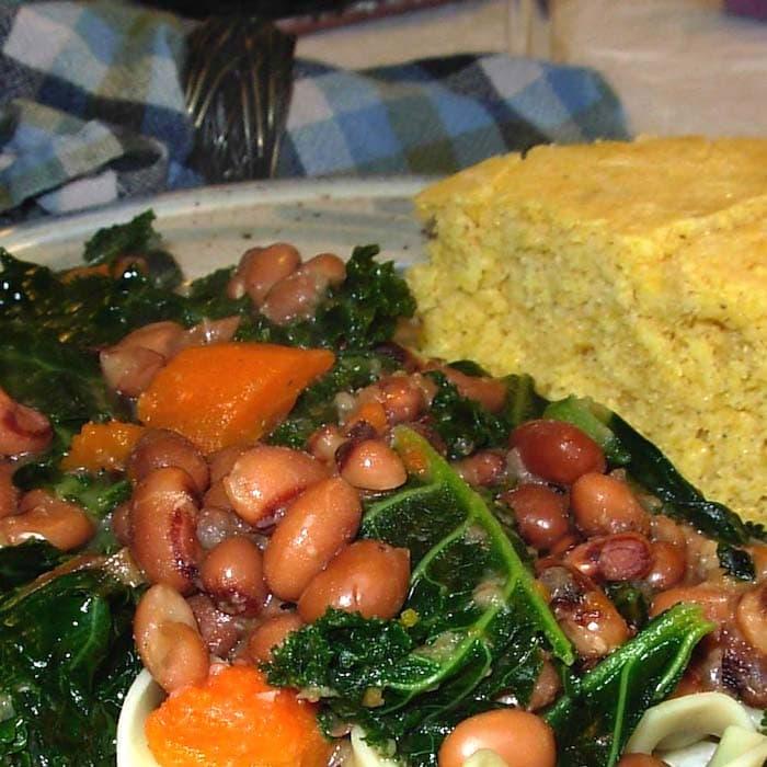 MMMMM. Black Eye Peas and Kale with Cornbread? Yes, please!