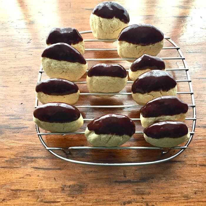 Danish Sugar Cookies, dipped in chocolate. Delicious!