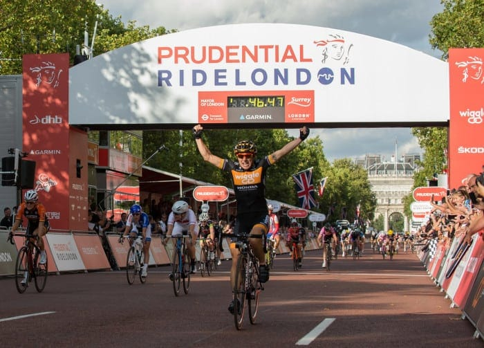 Giorgia Bronzini crosses the line to win the Pro Womens Grand Prix race at Prudential RideLondon, the world's greatest festival of cycling, involving 70,000+ cyclists – from Olympic champions to a free family fun ride - riding in five events over closed roads in London and Surrey over the weekend of 9th and 10th August. Photo: Thomas Lovelock for Prudential Ride London See www.PrudentialRideLondon.co.uk for more. For further information: Penny Dain 07799 170433 pennyd@ridelondon.co.uk