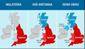 Mapas do Reino Unido, Inglaterra e Grã-Bretanha