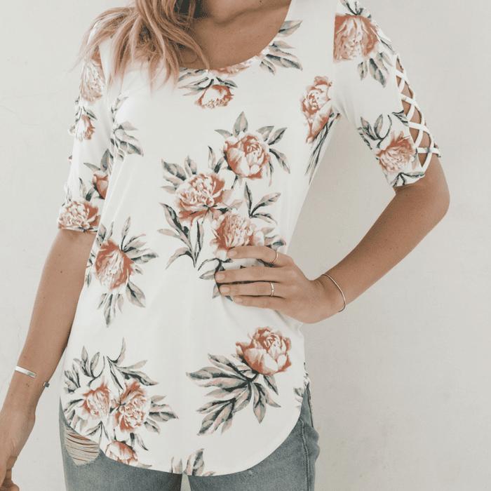Ivory & Blush Floral Crisscross-Accent Three-Quarter Sleeve Top