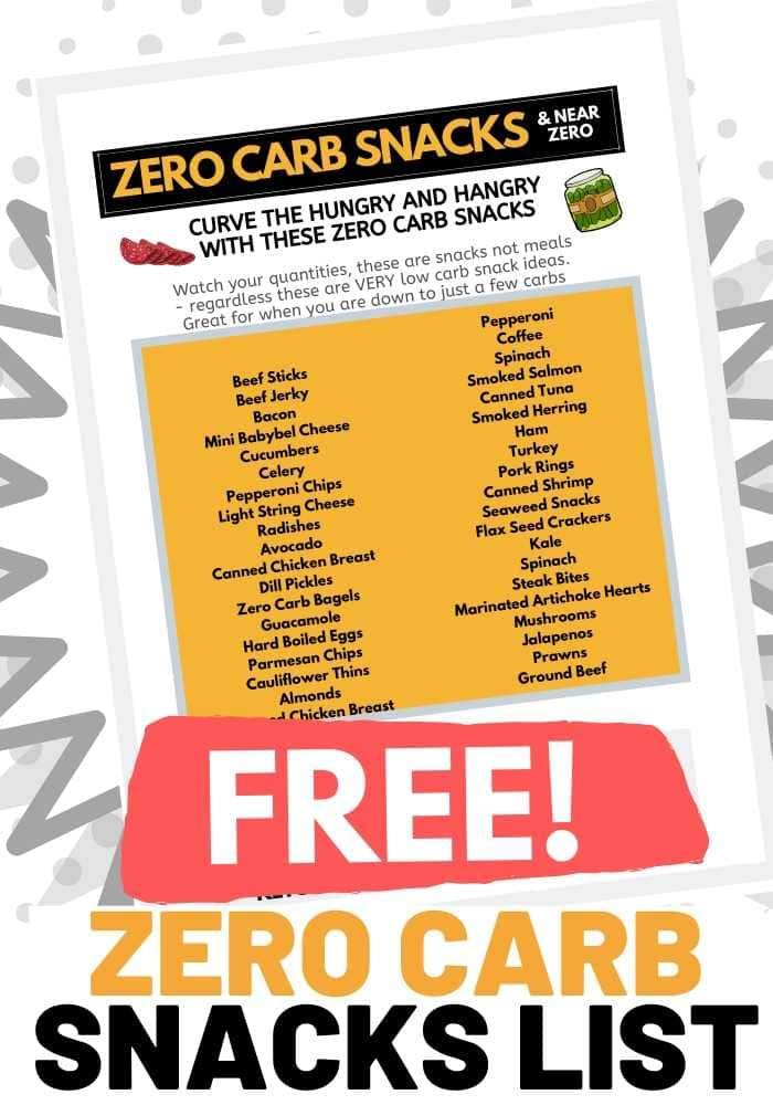 zero carbs snack list pdf