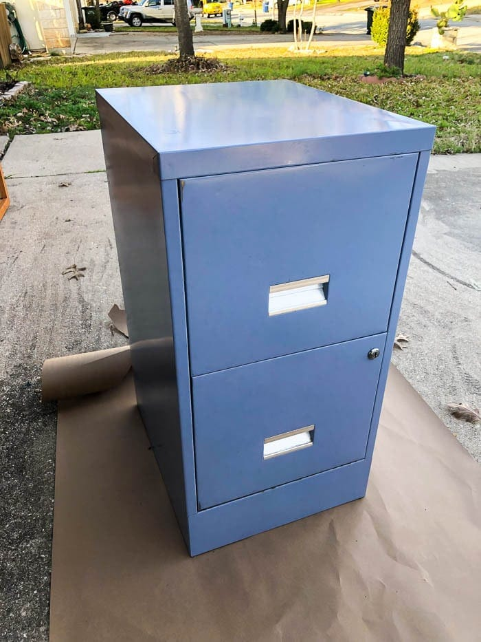 metal filing cabinet before the makeover