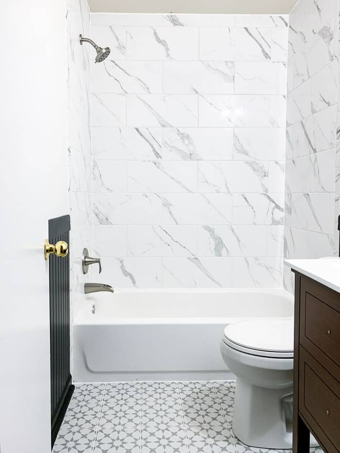black, white, and gray bathroom renovation