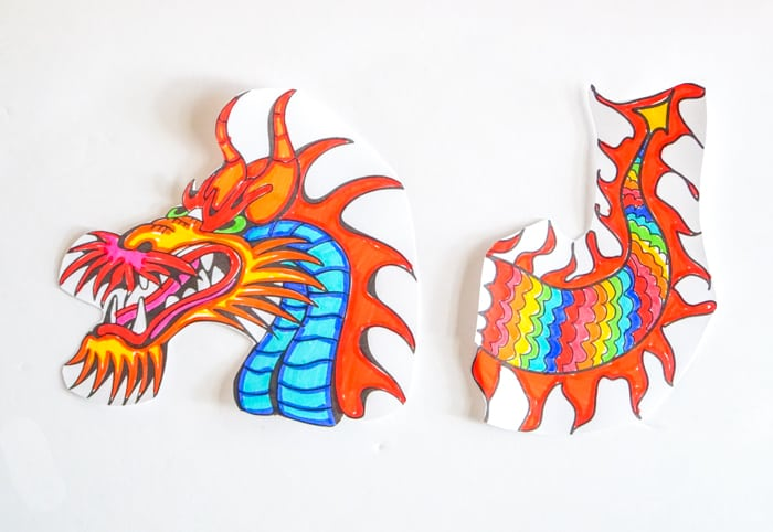 cut out dragon puppet