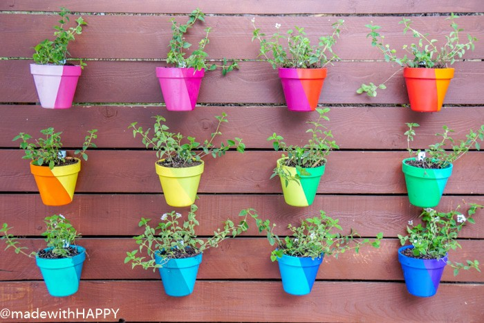 Rainbow Vertical Garden Hanging Pots. Color Blocking Flower Pots. Rainbow Vertical Garden. Colorful garden pots brighten up any outside space.