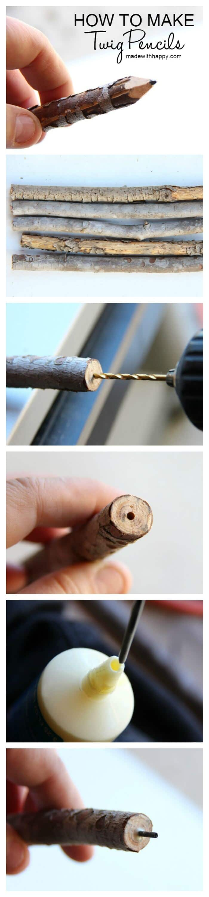 How to make twig pencils | Making pencils out of branches and twigs | DIY Pencils | www.madewithhAPPY.com