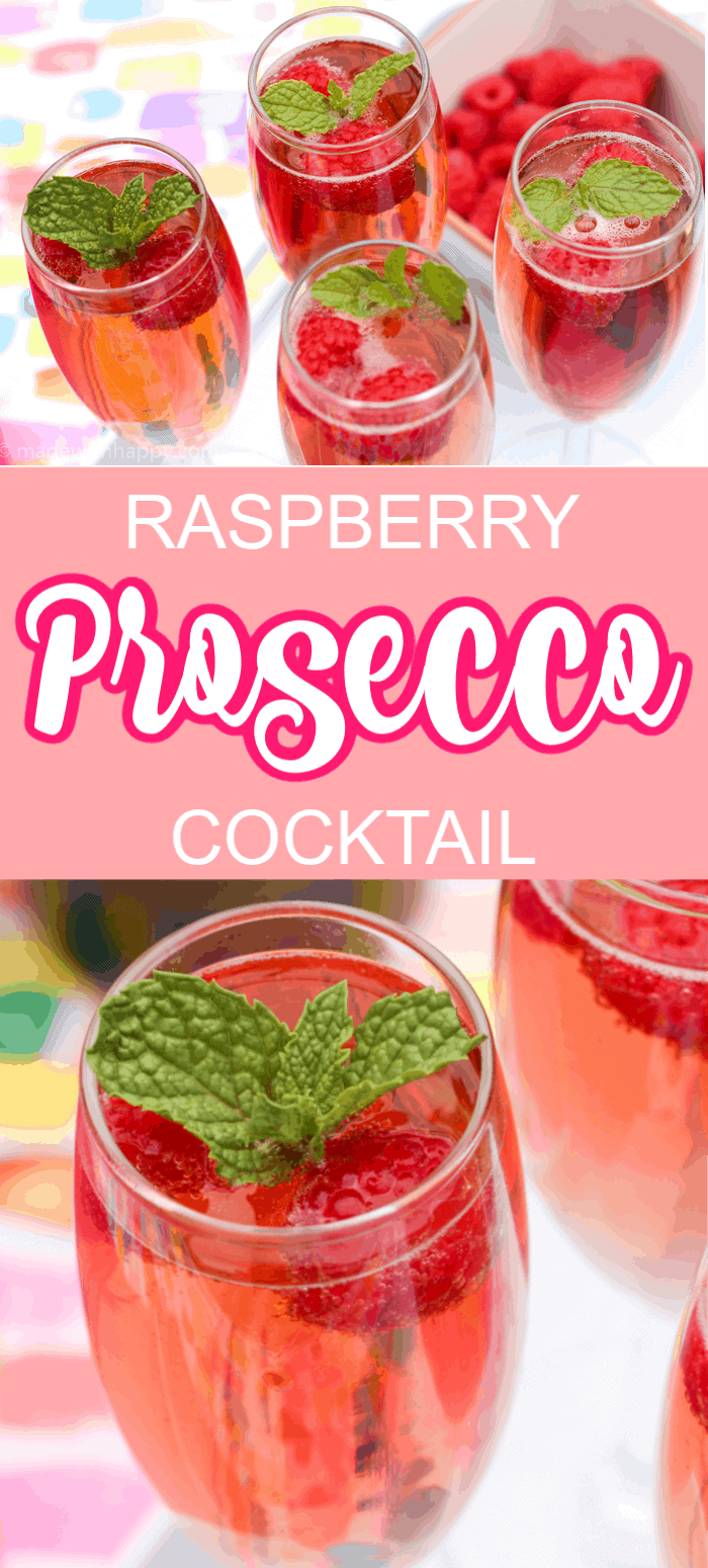 Raspberries in a prosecco cocktail