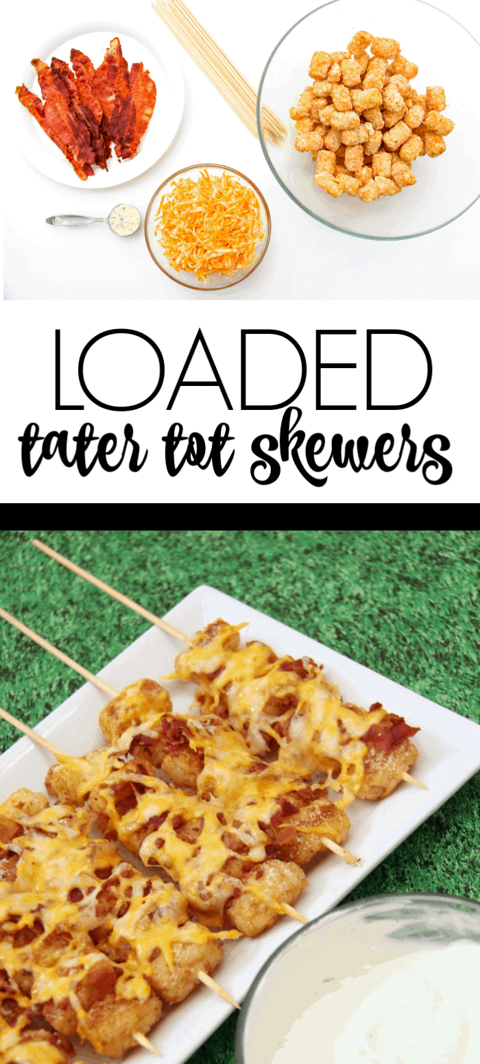 Loaded Tater Tot Skewers | Appetizers | Superbowl food | Tater Tot Kabobs | www.madewithHAPPY.com