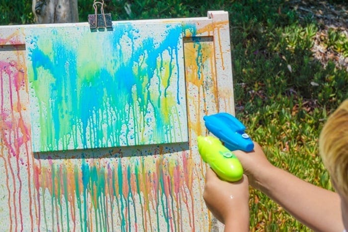 Squirt Gun Painting Kids Activity. Water gun painting. Looking for Summer activities for the kids? The kids LOVE water gun painting throughout the Summer.