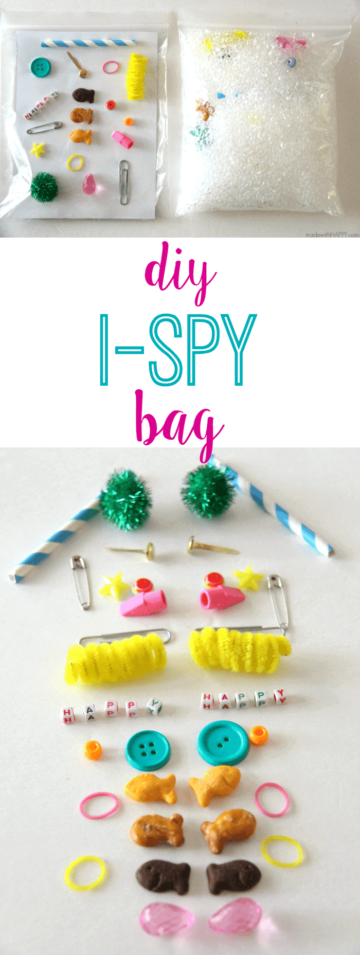DIY I-Spy Bag | How to make an i-spy bag for your next road trip. | Fun Road trip Activities for kids | Kids Summer Activities  | www.madewithhappy.com