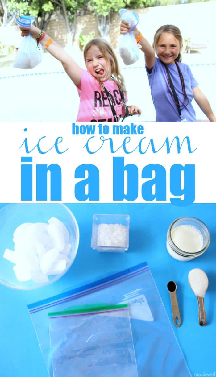 how to make ice cream in a bag. Homemade ice cream. Fun Summer activities for kids.