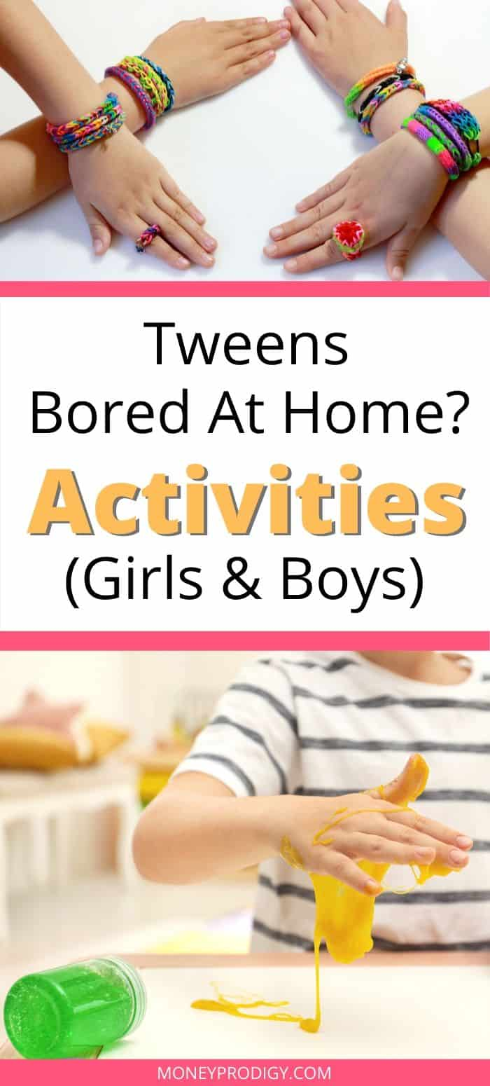 "girl and boy tweens making bracelets and slime, text overlay ""tweens bored at home? activities for girls and boys"""