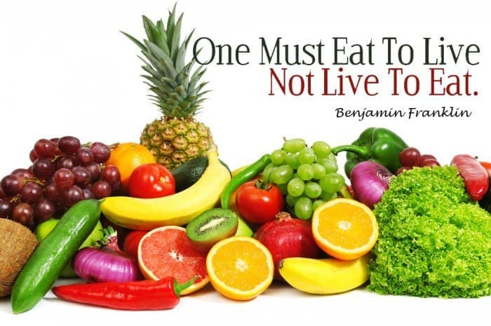 One must eat to live, not live to eat.