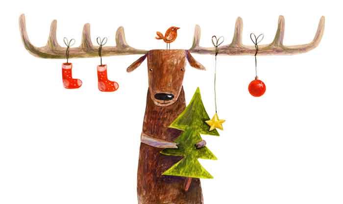 Deer with the Christmas tree