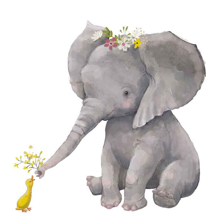 Elephant with floral wreath and a duck