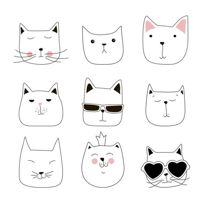 Set of cute cats faces