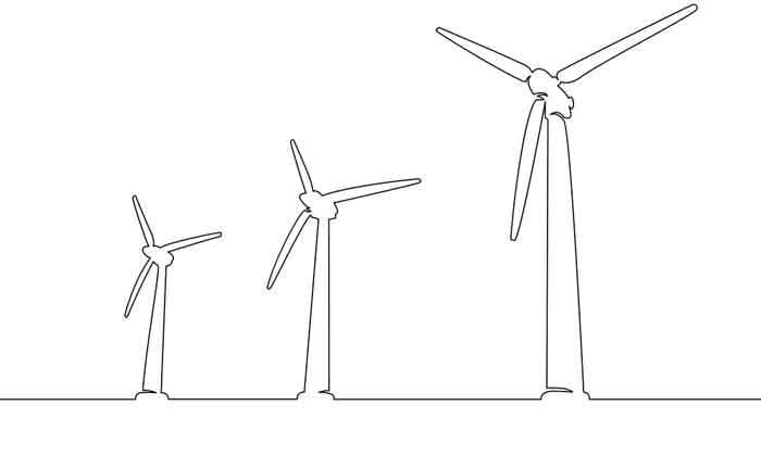 Silhouette of wind turbine