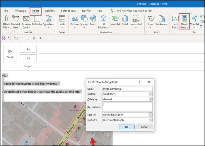Pop-up dialog to identify new Quick Part.